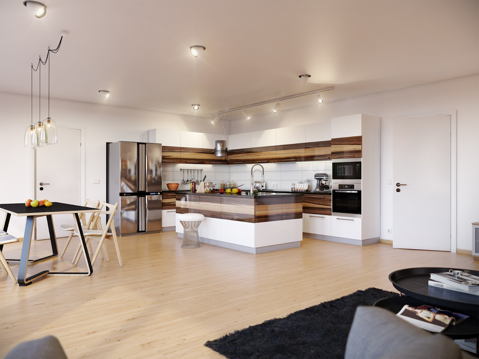 Wood toned loft showme design for Show me some kitchen designs