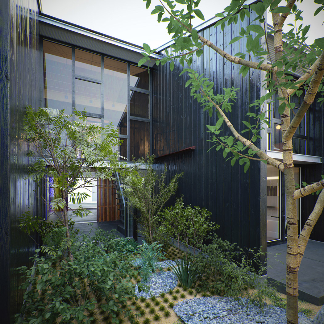 Modern House With Zen Garden And Green Roof: Modern Japanese Home