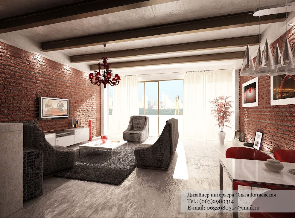 Red gray living room