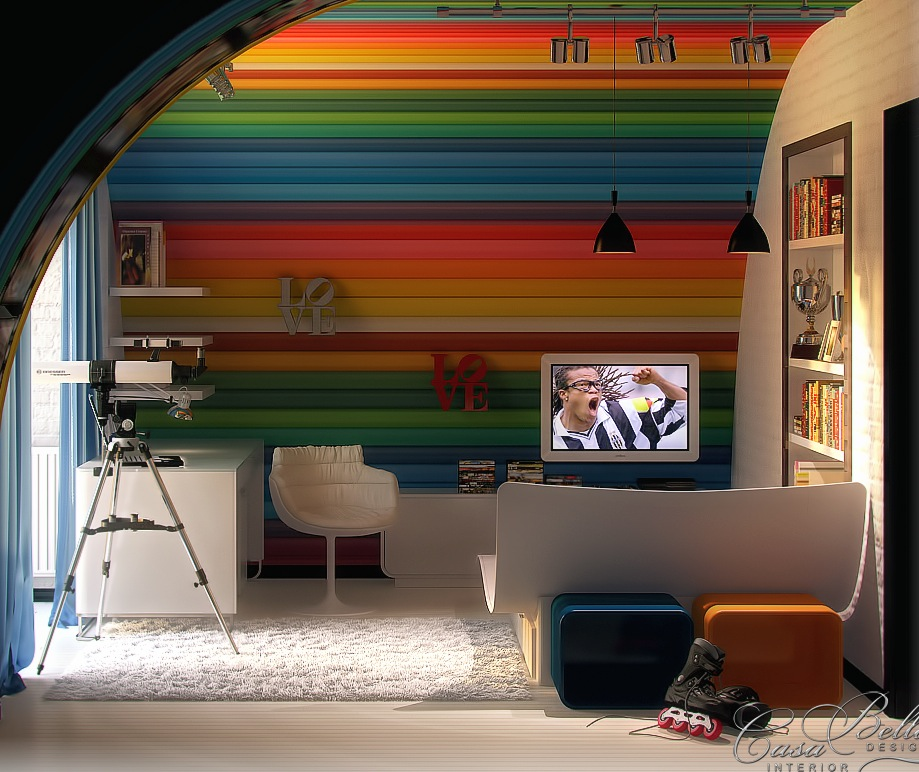 Kids Rooms Climbing Walls And Contemporary Schemes: Colorful Kids Rooms
